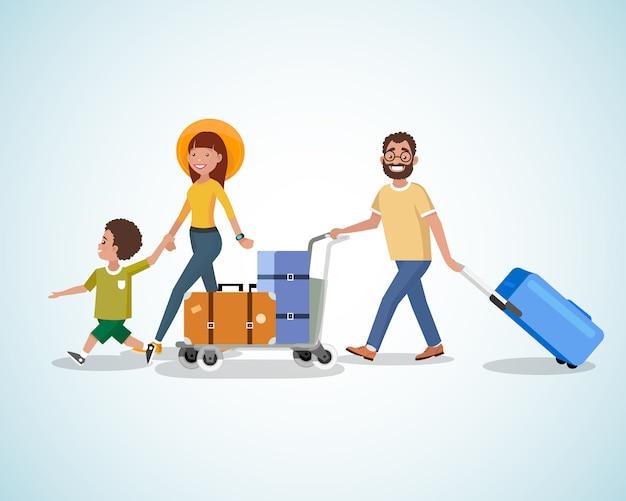 Viagem de família com o conceito de vetor de bagagem dos desenhos animados