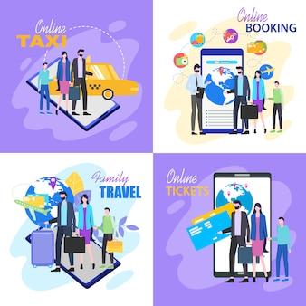 Viagem de família compre o bilhete de avião online taxi hotel booking