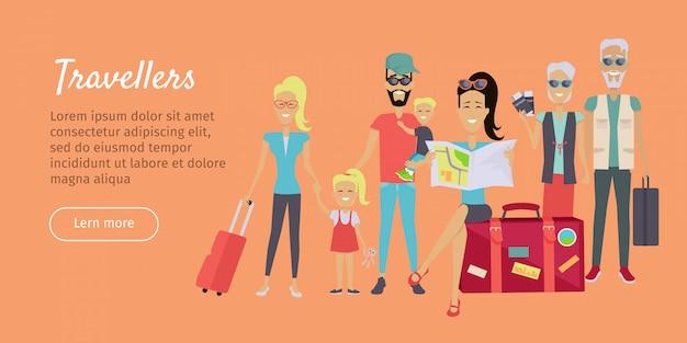 Viagem de família feliz viajando banner