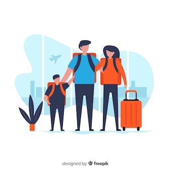 Viagem de família plana