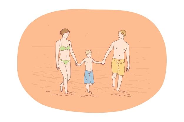 Viagem de férias na praia no conceito de verão