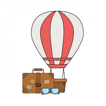 Viagem de mala com óculos e ícone de campismo