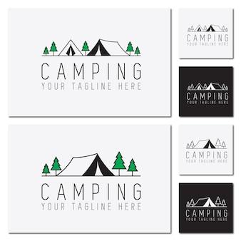 Viagem de modelo de logotipo para acampamento ao ar livre e aventura