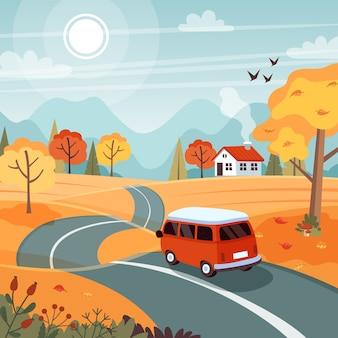 Viagem de outono. paisagem com uma linda van na estrada