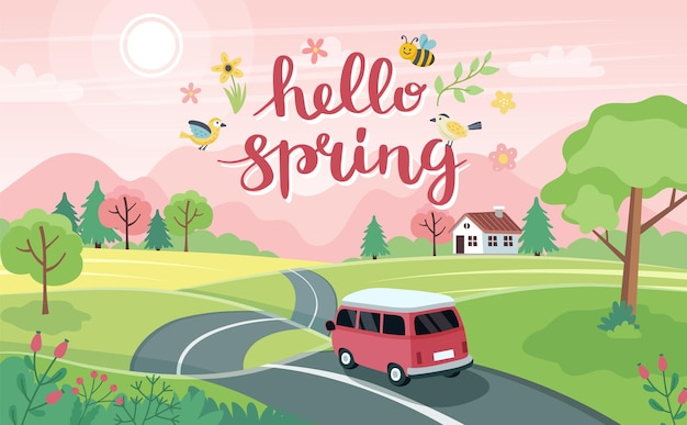 Viagem de primavera. paisagem com um carro bonito na estrada e letras. em estilo simples