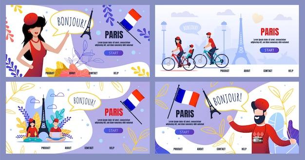 Viagem de publicidade de conjunto de página de destino plana para paris