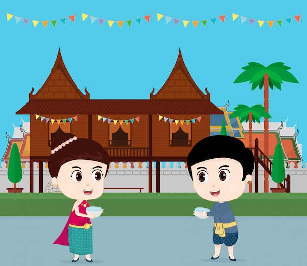 Viagem de tailândia. crianças comemorando no festival songkran. ilustração vetorial