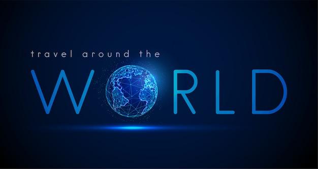 Viagem de texto ao redor do mundo com o planeta terra