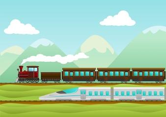 Viagem de trem ilustração vetorial criativa
