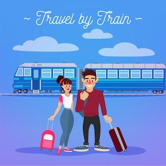 Viagem de trem. industria do turismo. pessoas ativas. menina com bagagem. homem com bagagem. casal feliz