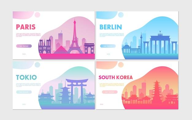 Viagem de turismo com paisagem urbana de conceitos com símbolos de viagem da cidade de paris, berlim, tóquio e coreia do sul