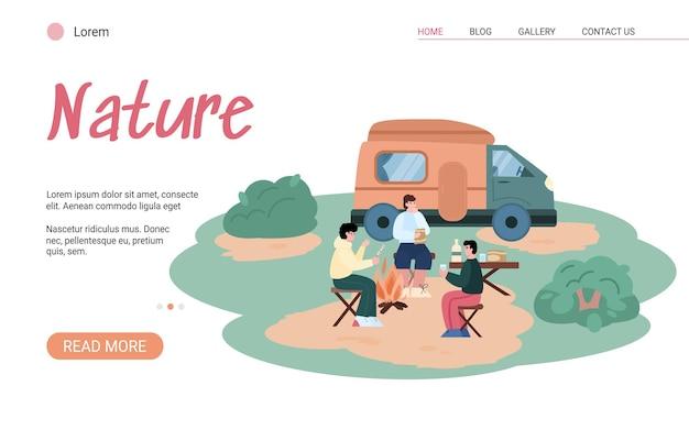 Viagem de turismo e recreação em acampamento de verão ao ar livre