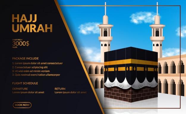 Viagem de turismo elegante e moderna de luxo no hajj e umrah