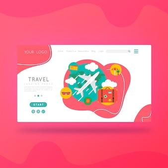 Viagem de turismo na página de destino