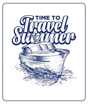 Viagem de verão com barco