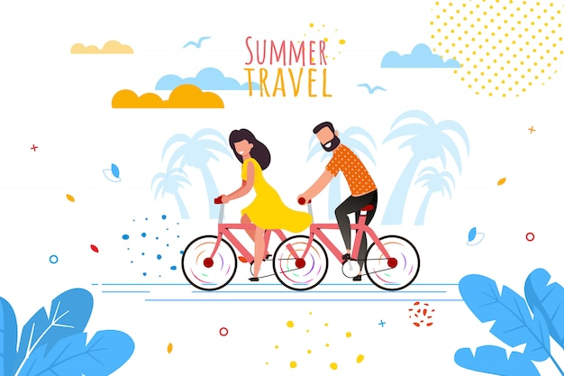 Viagem de verão de bicicleta para dois banner dos desenhos animados Vetor Premium