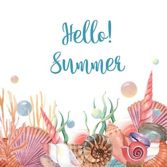 Viagem de verão de vida marinha de concha do mar na praia