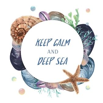 Viagem de verão vida marinha grinalda seashell na praia