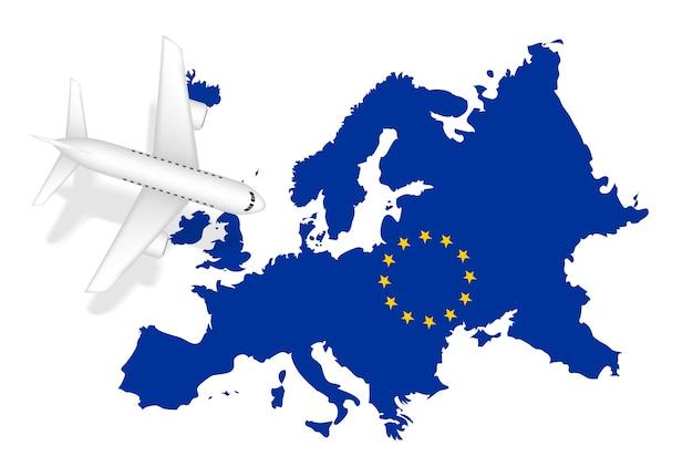 Viagem de voo de avião para a europa no mapa da europa