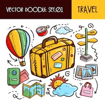 Viagem doodles ícone. conjunto de ilustração vetorial