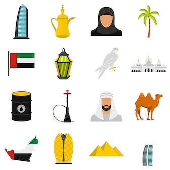 Viagem dos emirados árabes unidos definir ícones planas
