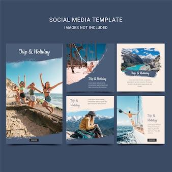 Viagem e férias de feriado. modelo de mídia social do viajante com cor azul marinho