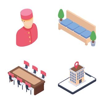 Viagem e pacote de ícones isométrica de funcionários do hotel