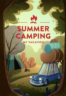 Viagem e turismo. paisagem natural com acampamento de férias na floresta. vetor.