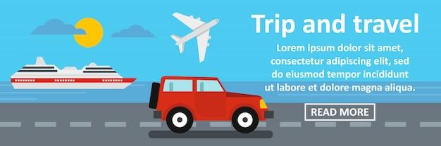 Viagem e viagem banner conceito horizontal