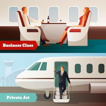 Viagem em banners horizontais de avião