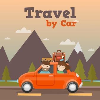 Viagem em família de carro nas montanhas.
