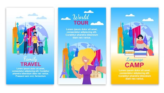 Viagem em família, turnê mundial, conjunto de banner de acampamento de idiomas