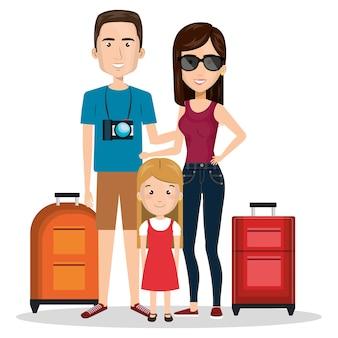Viagem familiar com malas design de ilustração vetorial