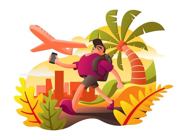 Viagem, feriado, teia, apartamento, ilustração