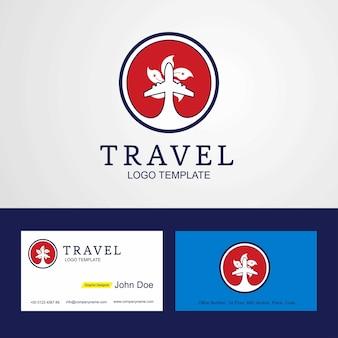 Viagem Hongkong logotipo criativo e design de cartão de visita