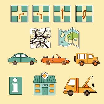 Viagem icon set vector
