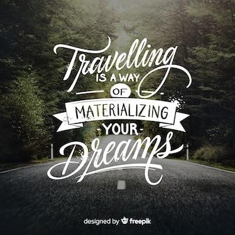 Viagem, lettering, fundo