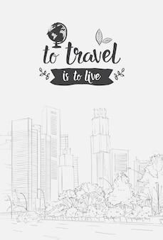 Viagem lettering mão desenhada sobre sketch city