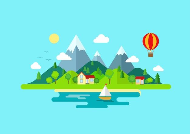 Viagem montanhas, paisagem da ilha e cores de vela