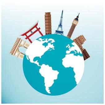 Viagem monumentos famosos em todo o mundo