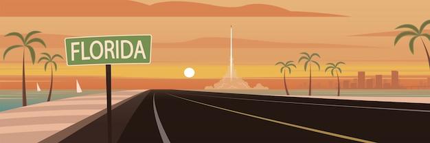 Viagem na estrada sinal e marcos da flórida
