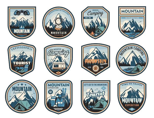 Viagem nas montanhas, turismo, ícones de acampamento