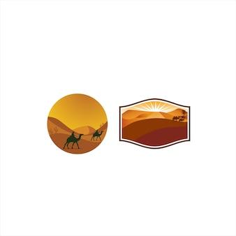 Viagem no deserto por camel logo design