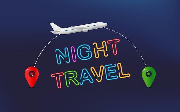 Viagem noturna. banner de viagens com aeronaves e pino de destino