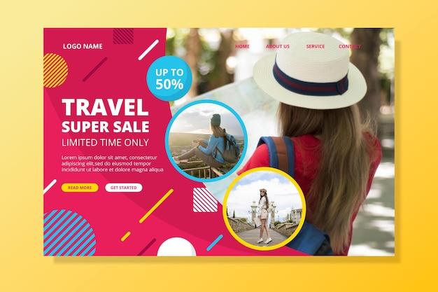 Viagem página da web de vendas com foto