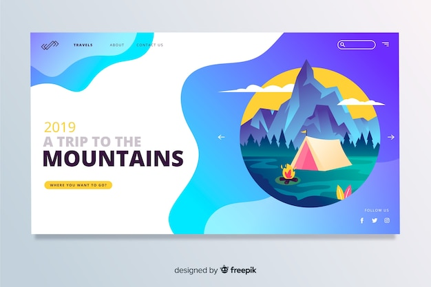 Viagem para a página de destino de viagem das montanhas