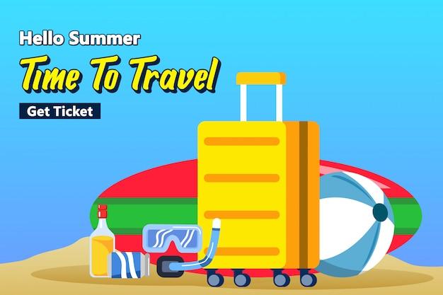 Viagem para férias de praia.
