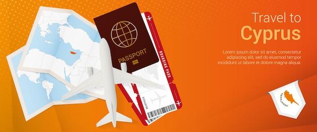 Viagem para o banner pop-under de chipre. banner de viagem com passaporte, passagens, avião, cartão de embarque, mapa e bandeira de chipre.