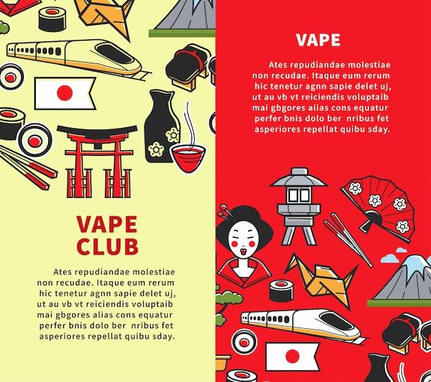 Viagem para os cartazes promocionais do japão
