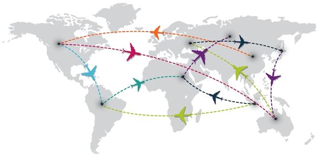Viagem pelo mundo com mapa e aviões